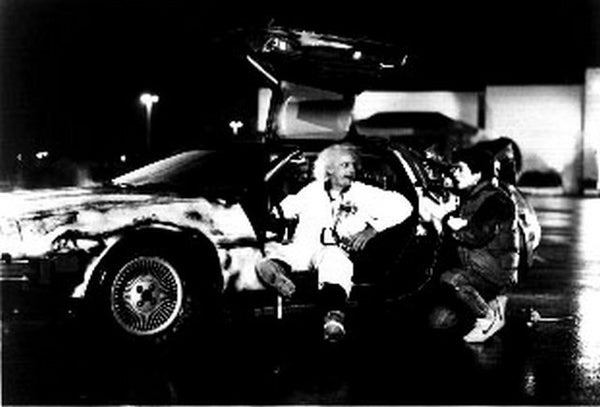 Back To The Future Doc and Marty in Front of the Delorean Discussing Time Travel Premium Art Print