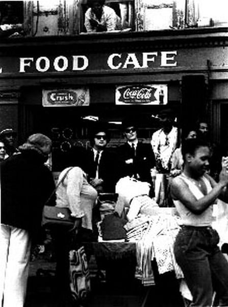 Blues Brothers standing in Front of The Cafe in Black and White Premium Art Print