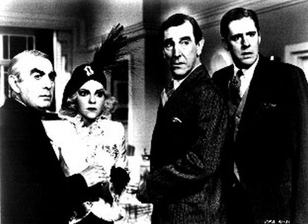 Purple Rose Of Cairo Portrait of Three Men and a Lady Excerpt from Film in Black and White Premium Art Print