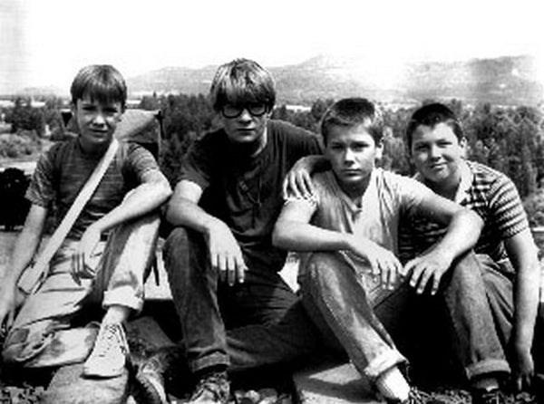 Stand By Me Cast Members Seated in Black and White Group Portrait Premium Art Print