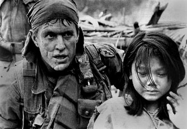 Platoon Classic Scene of a Soldier with Kid Excerpt from Film Premium Art Print