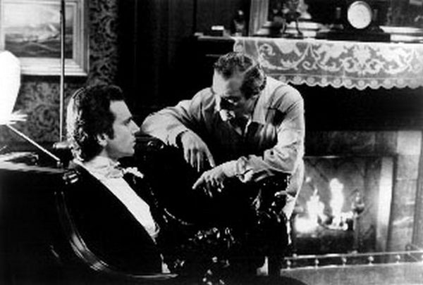 Age Of Innocence Two Men Talking in Black and White Premium Art Print