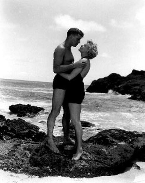 From Here To Eternity Couple Going to Kiss in Black Premium Art Print