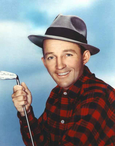 Bing Crosby Holding Golf Club in Red Plaid Long Sleeve Polo High Quality Photo