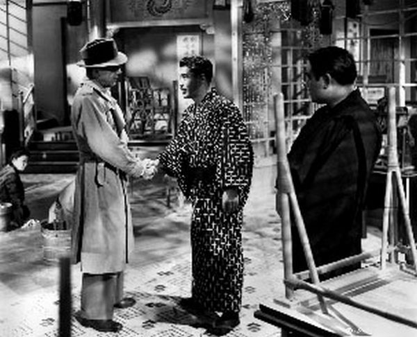 Tokyo Joe Two Men Handshaking in Black and White Premium Art Print