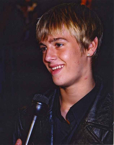 Aaron Carter Aaron Carter Undergoing an Interview in Black Jacket High Quality Photo