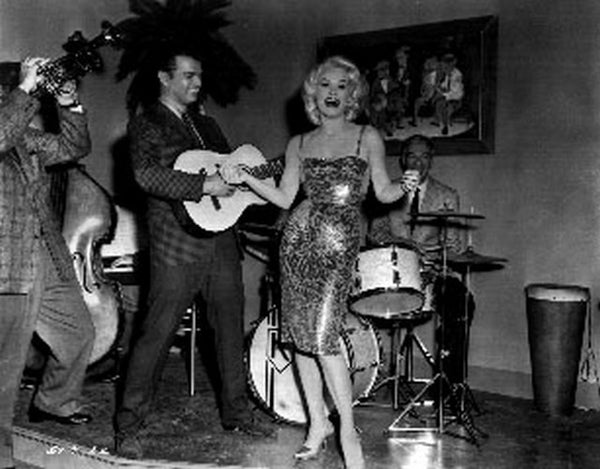 Sex Kittens Go To College Mamie Van Doren on Stage singing Premium Art Print