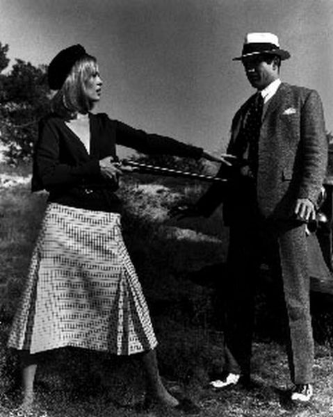 Bonnie And Clyde Pointing Gun in Black Suit and a Dress Premium Art Print