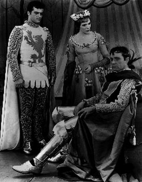 Camelot Three People Talking in Black and White Premium Art Print