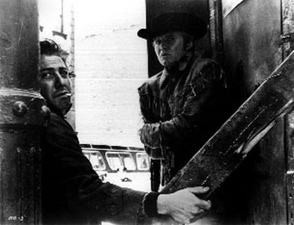 Midnight Cowboy Two Men Looking Serious in Cowboy Outfit Premium Art Print
