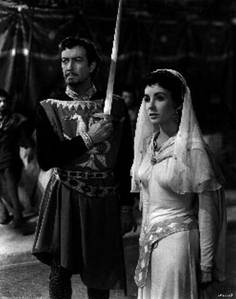 Ivanhoe Woman and Man Holding Sword Premium Art Print