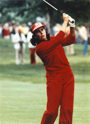 Amy Alcott Playing Golf in Red High Quality Photo