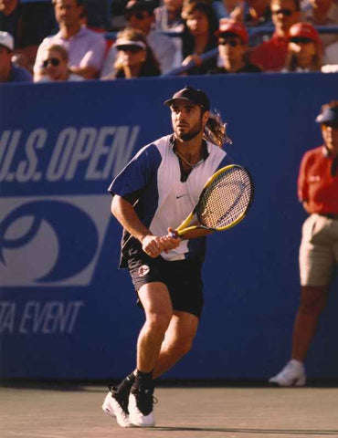 Andre Agassi Playing Tennis in a Tournament High Quality Photo