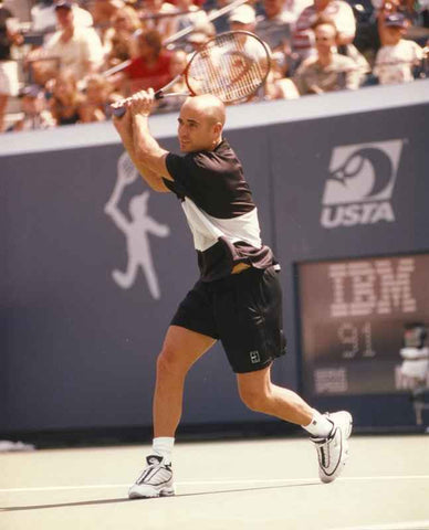 Andre Agassi Holding the Racket on Two-Hand High Quality Photo