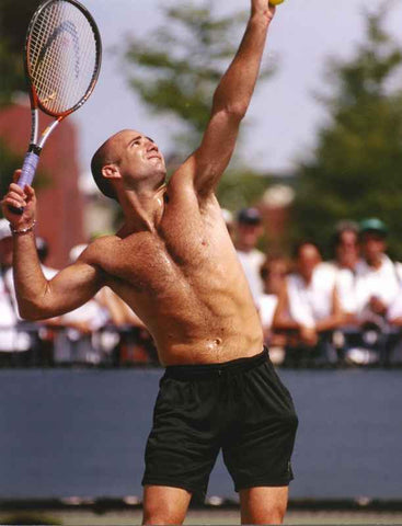 Andre Agassi Playing Tennis Shirtless High Quality Photo