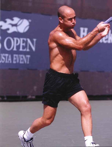 Andre Agassi Playing Tennis without Shirt with Black Shorts High Quality Photo