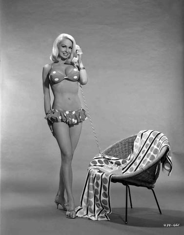 Joi Lansing Answering the Phone in a Portrait High Quality Photo