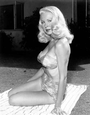 Joi Lansing sitting on a the Ground with a Towel and wearing a Glossy Lingerie in a Portrait High Quality Photo