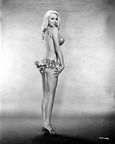 Joi Lansing standing and wearing a Polka Dot Bikini in a Portrait High Quality Photo
