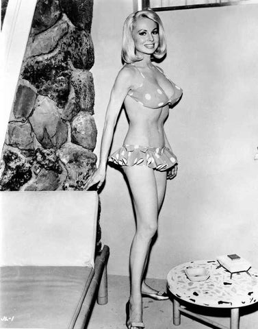 Joi Lansing wearing a Polka Dot Bikini with Doll Shoes in a Portrait High Quality Photo