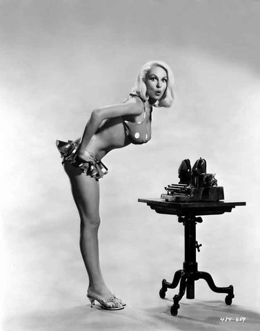 Joi Lansing wearing a Polka Dot Two Piece in a Portrait High Quality Photo
