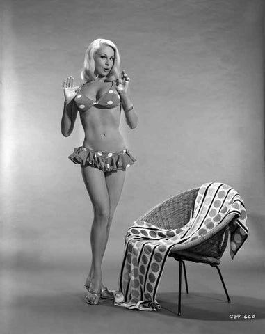 Joi Lansing wearing a Polka Dot Two Piece with Slippers in a Portrait High Quality Photo