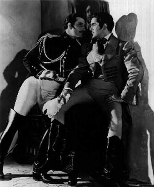 Mark Of Zorro Three Men Talking in Movie Scene Premium Art Print