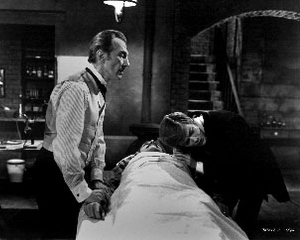 Frankenstein Must Be Destroyed Movie Scene in Black and White Premium Art Print