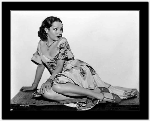 Lupe Velez sitting Pose in Classic Floral Dress High Quality Photo