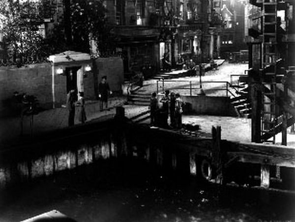Dead End Movie Scene on the River in Black and White Premium Art Print