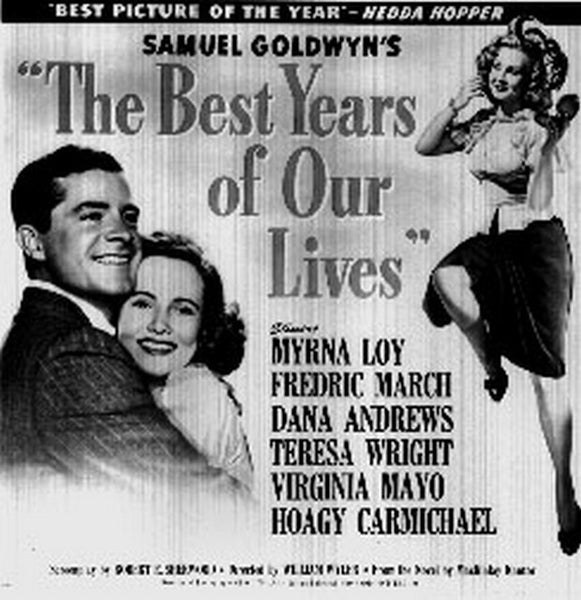Best Years Of Our Lives Movie Poster with Man in Suit hugging a Woman in White Dress smiling Premium Art Print