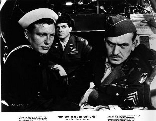 Best Years Of Our Lives Movie Poster with Man in Sailor Hat and Uniform Seated Beside a Man in Soldier Hat and Decorated Uniform Premium Art Print