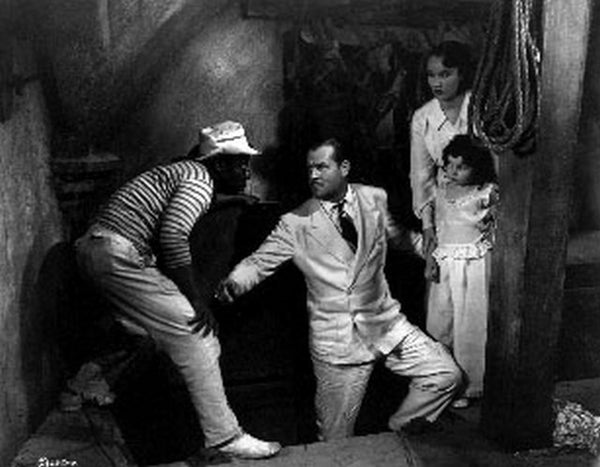 Black Moon Family Against Man in Striped Sweater Scene Excerpt from Film Premium Art Print