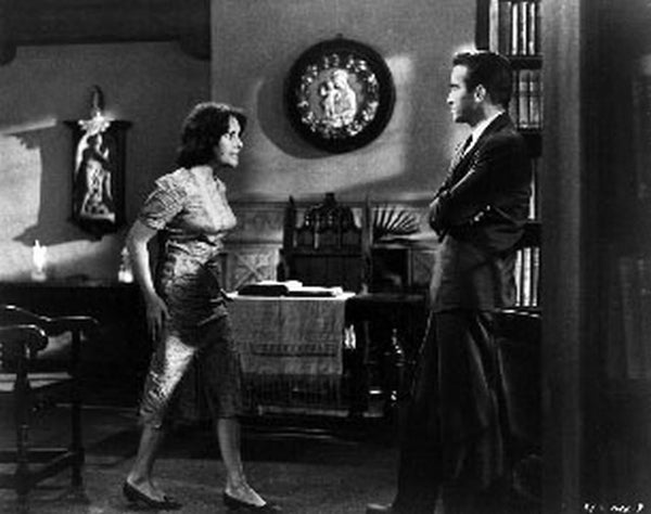 Suddenly Last Summer Man and Woman Arguing Scene Excerpt from Film in Black and White Premium Art Print