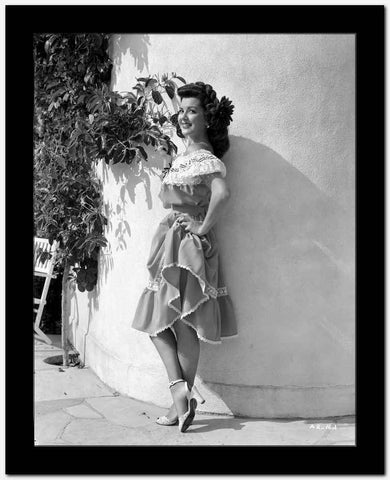 Ann Rutherford Leaning on the Wall wearing a Dress High Quality Photo