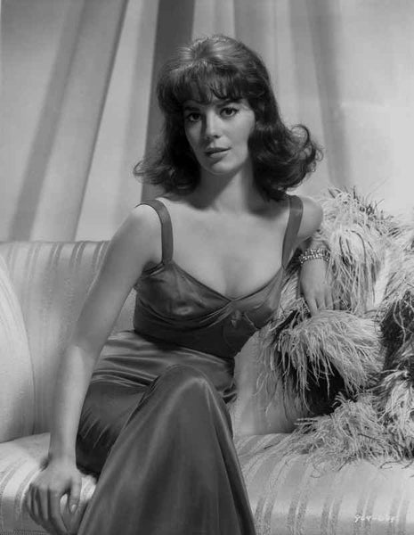 Natalie Wood sitting on a Couch in Black and White Premium Art Print