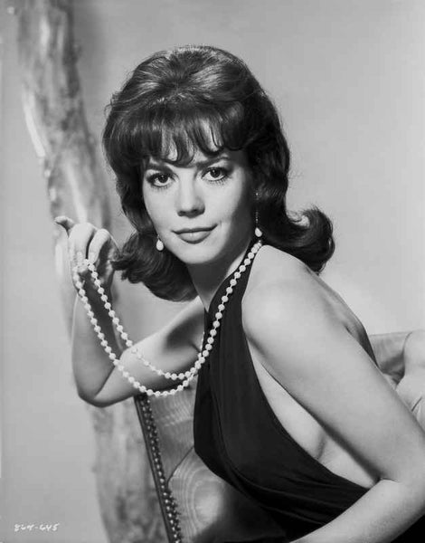 Natalie Wood In a Sexy Black Dress wearing a Pearl Necklace Premium Art Print