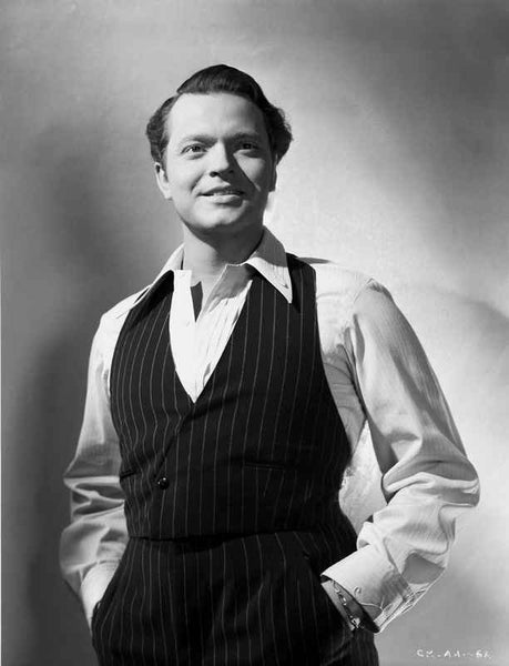 Orson Welles Posed in Vest and Polo Premium Art Print