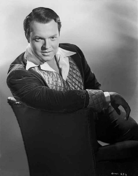 Orson Welles sitting in Black and White Premium Art Print