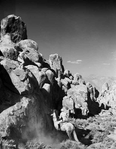 Johnny Weissmuller Climbing Rock in Black and White Premium Art Print