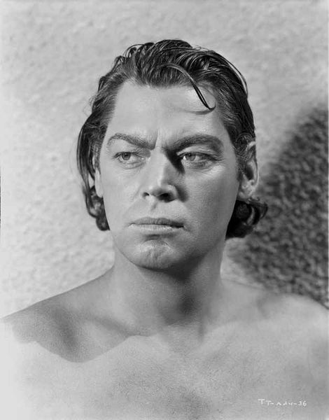 Johnny Weissmuller Looking Away and Topless in a Close Up Portrait Premium Art Print