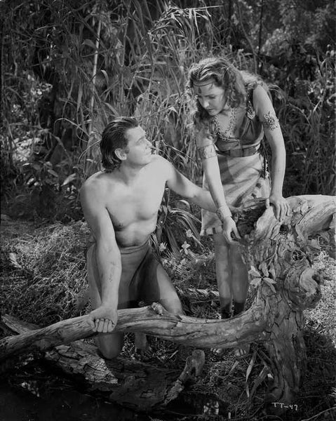 Johnny Weissmuller Hanging Out with a Woman in a Classic Movie Scene Premium Art Print