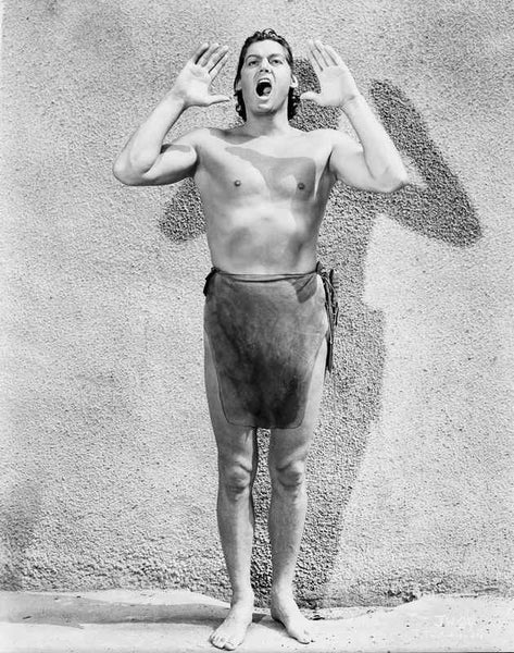 Johnny Weissmuller Shouting in a Classic Movie Scene Premium Art Print