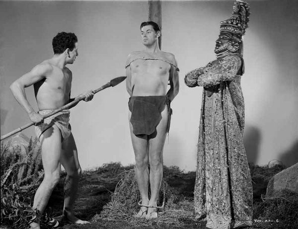 Johnny Weissmuller Tied Up in a Pole in a Classic Movie Scene Premium Art Print