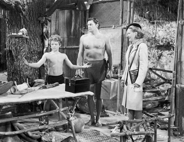 Johnny Weissmuller Talking to a Young Man in a Classic Movie Scene Premium Art Print