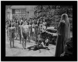 Johnny Weissmuller standing in Front of the Leader of the Amazons in a Movie Scene High Quality Photo