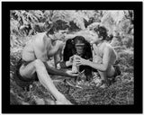 Johnny Weissmuller Holding a Scroll with a Kid in a Classic Movie Scene High Quality Photo