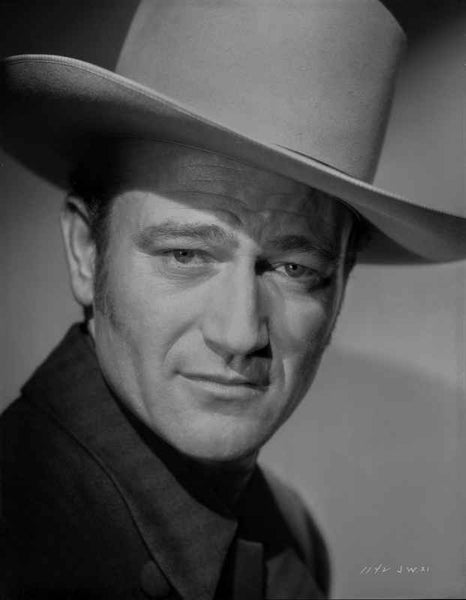 John Wayne wearing a White Hat in a Close Up Portrait Premium Art Print
