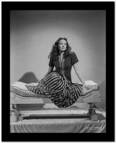 Gene Tierney Seated on Lounging Chair High Quality Photo