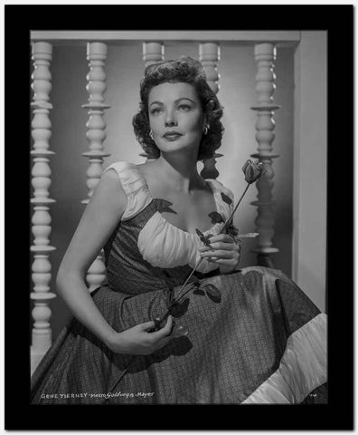 Gene Tierney Holding Flower in Dress High Quality Photo